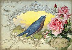 ANTIQUE CARDS I Digital Collage Sheet Romantic por GalleryCat