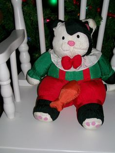 DEPT DEPARTMENT 56 STUFFED PLUSH KITTY CAT RED GREEN SUSPENDERS FISH NYLON Christmas Cats, Christmas Stockings, Camden Park, Fire Pit Accessories, Dept 56 Snow Village, Department 56, Red Green, Dinosaur Stuffed Animal