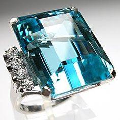 Retro Vintage Natural Aquamarine & Diamond Ring Solid Platinum Estate Jewelry in Jewelry & Watches, Fine Jewelry, Fine Rings, Gemstone Aquamarine Jewelry, Gemstone Jewelry, Sea Glass Jewelry, Fine Jewelry, Jewellery, Ringa Linga, Antique Jewelry, Vintage Jewelry, Antique Rings
