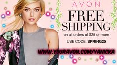 #Free shipping on a $25+ order today from #Avon!  Use #code: SPRING25 Whether you're stuck in the house from the #snow or with the kids on #springbreak do some #retailtherapy! #Easterstorm #snowday #deals #shopping #onlinesales