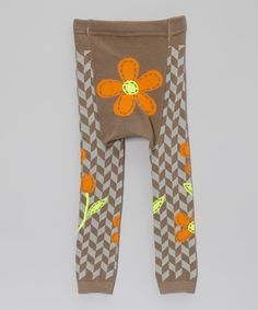 Look at this Brown & Orange Flower Leggings - Infant on #zulily today!