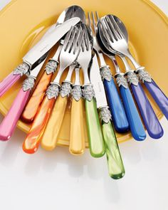 "12 piece dinner knifes, forks and tablespoons, made in Italy, come 2 of each color to a dozen for $84.90 ~ assorted bright Napoleon flatware at Horchow.  [wait for 30% off ""whole site"" SALE June 23-25, 2015!]"