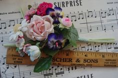 Vintage Colorful Mixed Bouquet Millinery by VintageCottageFinds