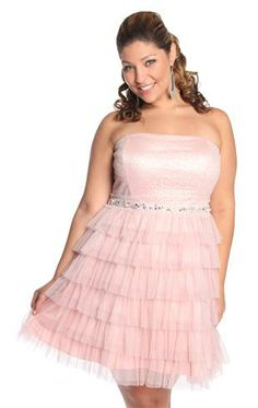 Plus Size Strapless Mesh Sequin Prom Dress with Cupcake Skirt