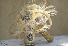 Brooch and Peacock Ivory Champagne Aurora  by jcmartanddesign, $250.00