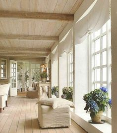 simple decor; neutral colors; huge windows; wide wooden plank floors; wooden plank ceiling with beams; potted hydrangea. the doors at the end. all fabulous