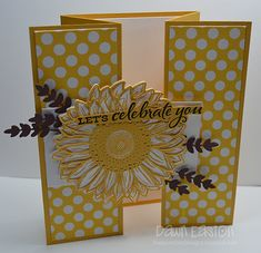 Hand Made Greeting Cards, Making Greeting Cards, Birthday Cards For Women, Happy Birthday Cards, Fancy Fold Cards, Folded Cards, Sunflower Cards, Scrapbook Cards, Scrapbooking