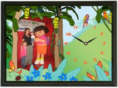 In 2007 we went into a trade show where Dora the Explorer and Diego were on stage. People were able to take a photo of their child with Dora or Diego. Dora The Explorer, Trade Show, How To Take Photos, Clocks, Stage, Children, People, Boys, Tag Watches