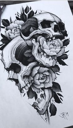 Skull Tattoo Flowers, Skull Rose Tattoos, Leg Tattoos, Body Art Tattoos, Sleeve Tattoos, Feminine Skull Tattoos, Butterfly Tattoos, Flower Tattoos, Tatoos