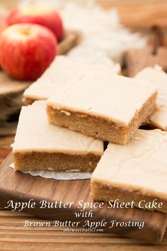 Fall sheet cake! Apple butter spice sheet cake with brown butter frosting!