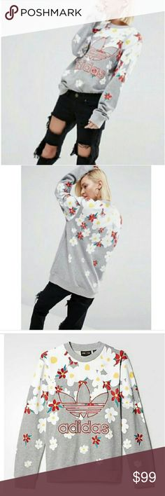 Pharell Williams for ADIDAS Daisy Sweatshirt -LARG ** NO TRADES WHATSOEVER **  Unique and a standout piece. Just what you would expect from Pharell. Grey fleece sweatshirt with embroidered flowers all over. BRAND NEW, NEVER WORN WITH ORIGINAL TAGS SIZE:  Large  I work in L.A as a wardrobe stylist for film and television. All my items are authentic and come from high end boutiques or stores. Adidas Tops