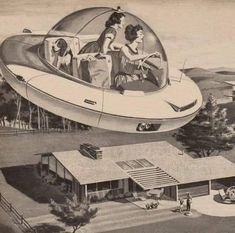 Unknown : Woman Driving Flying Saucer, illustration depicting an american mother and daughter arriving home from shopping in a futuristic spaceship, Vintage Advertisements, Vintage Ads, 1950s Advertising, Weird Vintage, Science Fiction Kunst, Mothers Day Ad, Images Vintage, Retro Images, Vintage Pictures