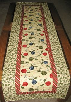 ChristmasTable Runner Quilted focus fabric by PicketFenceFabric, $33.95
