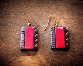 Rich pink terracotta contemporary womens casual earrings