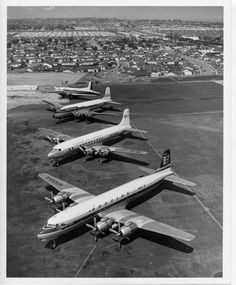 A famous photo of the Douglas family... Douglas DC-7, DC-6, DC-4, DC-3 with the upright tail!