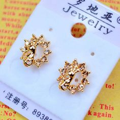 14K Gold Plated Stud Peacock Earrings Outlet For Women $2.77