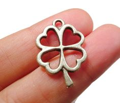5 Pcs Antique Silver Plated Brass Four Leaf Clover by FoxyBeadsCo