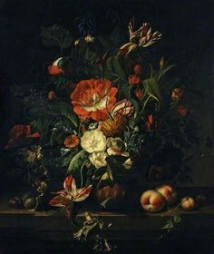 Still Life with Fruit and a Vase of Flowers By Rachel Ruysch