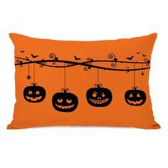 One Bella Casa Pumpkins On a Branch Lumbar Pillow