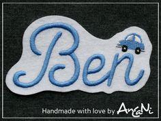 Aufnäher - Aufnäher Wunschname mit Auto ♥ Name mit Auto - ein Designerstück von AnCaNi bei DaWanda