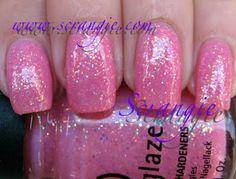 China Glaze Preppy Pink: Light candy pink base with opalescent glitter.    Scrangie