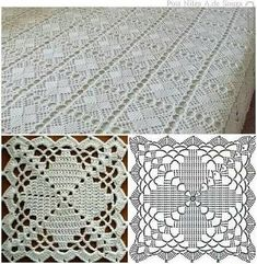 Top 4 crochet tablecloth pattern you will like crochet tablecloth pattern copriletto a mattonelle YKSNBID Very pretty granny square via This Pin was discovered by Sou I'm in love with this bedsprea Crochet Tablecloth Pattern, Crochet Bedspread Pattern, Crochet Square Patterns, Crochet Blocks, Crochet Diagram, Crochet Chart, Crochet Squares, Thread Crochet, Crochet Granny