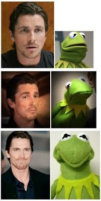 Christian Bale and Kermit both have great facial expressions
