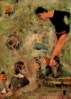 """49-Toulouse Lautrec x Cris Acqua.  Pintura Mixta Collage. 30x21 cm.  HOMENAJE :""""Mi amor por este genial pintor...dueño de los trazos más libres y geniales de la Belle epoque, me han influido totalmente en mi camino por el arte..."""" (Cris Acqua)  http://www.crisacqua.com"""