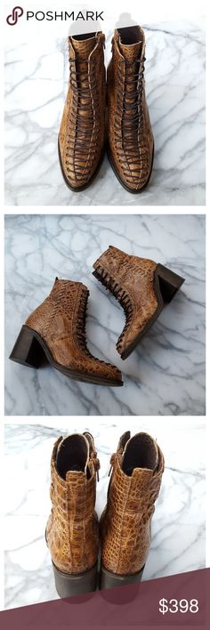 """Free People Verrico Lace Up Boot Stunning croco-embossed lace up leather boots. Leather upper and lining, stacked leather heel, side zip, lace-up front, lightly padded footbed. Heel height 3"""", shaft height 5.5"""", length (bottom of sole) 10.75"""", width forefoot at widest point) 3.5"""". All measurements approximate. Made in Portugal. Some signs of wear on bottoms of soles and heels, see fifth photo. EUC. Free People Shoes Ankle Boots & Booties"""