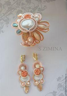 Купить Свадебный комплект Персиковый цвет - кремовый, Персиковый цвет, персиковый, браслет свадебный