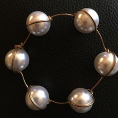 Handcrafted copper wire and pearls beads. Extra large pearls station bracelet. One of a kind. Jewelry Bracelets