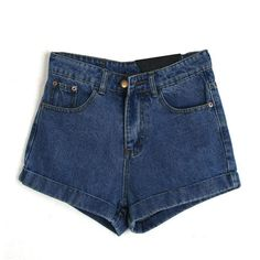 Retro Denim Shorts With Cuffed Hem (73 MYR) ❤ liked on Polyvore featuring shorts, a, highwaist shorts, cuffed jean shorts, retro high waisted shorts, zipper shorts and high-waisted denim shorts