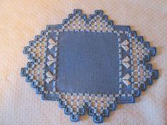 Hardanger Doily Norwegian Embroidery Blue - White