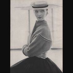 In 1952, skirts went wide - swinging out from the waist and swaying with every move.   So, in turn, jackets shrank -  they became abbreviated, but still carefully sculpted to balance the silhouette.   #cliffordcoffin photographs the perfect example from the best angle - a pale blue #lobalbo jacket worn with a wide brimmed hat by #Tatiana.   #voguemagazine #vintagefashion #1950sfashion #dresshistory #fashionstudies #fashionhistory #americanfashion #newyorkfashion