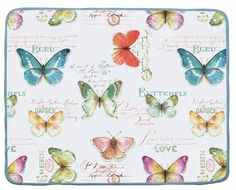 The Butterfly Garden Countertop Drying Mat is made with super absorbent microfiber, cushioned with a foam lining to protect delicate dishes and glassware. It can hold 4 times it's weight in water, is machine washable, and folds for easy storage. Design features colorful pattern of butterflies on one side and solid color on reverse.