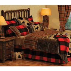 I love the bold red and black in this one and the cool moose pillow.