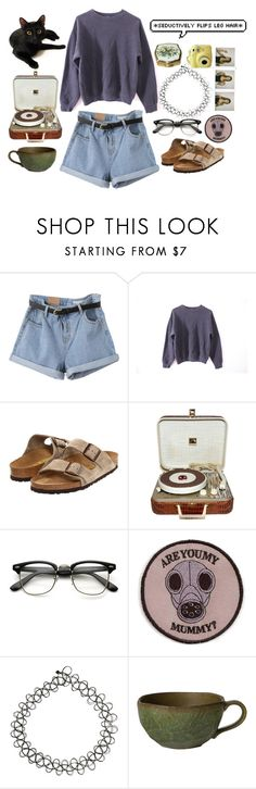 """☹☹☹"" by sadgrrl ❤ liked on Polyvore featuring Birkenstock, GAS Jeans, ASOS, Polaroid and Retrò"