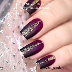 Elegant red and black nails with golden - Unhas elegantes rojo y negro con dorado