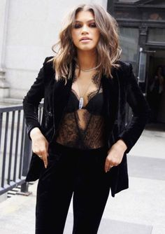 Body Suit Outfits, Blazer Outfits, Black Body Suit Outfit, Black Lace Top Outfit, Sexy Outfits, Fashion Outfits, Celebrity Outfits, Dressy Outfits, White Outfits