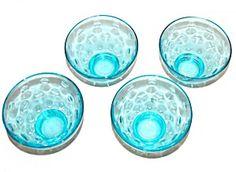 Capri Blue Dessert Bowls, Set of 4, Dots Pattern by Hazel Atlas