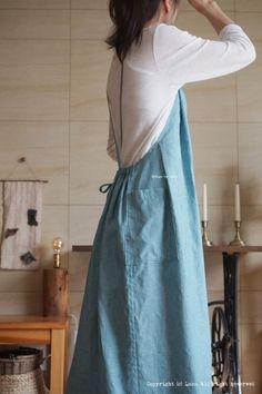 린넨 에이프런 원피스 앞치마 : 네이버 블로그 Dress Tutorials, Skirt Pants, Linen Dresses, Indian Wear, Fashion Details, Clothing Patterns, Korean Fashion, High Waisted Skirt, Dressing
