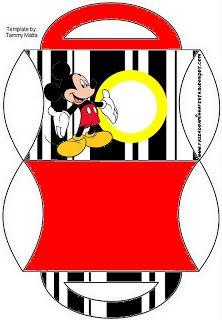 Cajitas imprimibles gratis de Mickey Mouse combinando rojo, blanco, negro y amarillo.