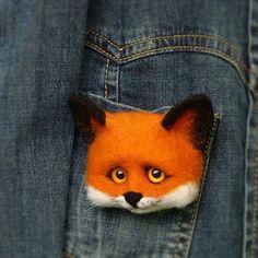 Felt Wool Fox Brooches MADE TO ORDER Felt Fox Animal Brooch Handmade Felted…