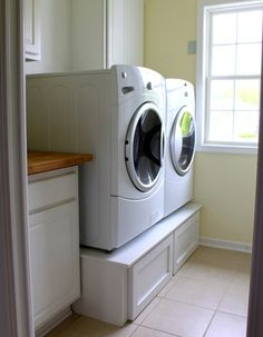 DIY washer dryer pedestal - these are gonna come in handy in the new house