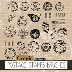 "Photoshop brush postage stamps: ""POSTAGE STAMPS BRUSHES"" – 24 assorted vintage postage stamps photoshop brushes 