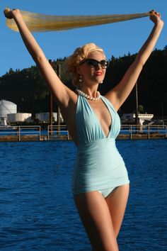 Retro Glamour one piece swimsuit with ruched sides in angel blue $92    Already posted a similar suit in red- Note: This is a much better color and a little better of a cut, it looks like.