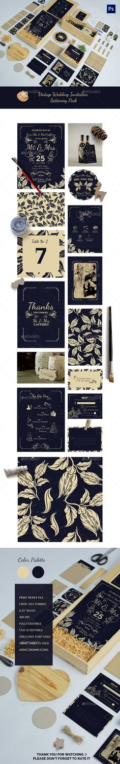Wedding Invitation Package — Photoshop PSD #announcement #rustic • Available here → https://graphicriver.net/item/wedding-invitation-package/12026706?ref=pxcr