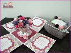 Mum Birthday Exploding Box Card with Flowered Teacup