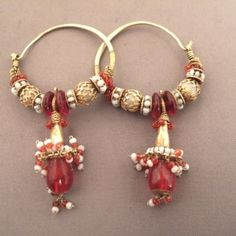 """22 ct gold, pearls, glass paste, India   These earrings are old and date from the late 19th century: they come from Himachal Pradesh (north-west India) and are called """"Braghar"""" ...  Weight:2 x 7,4gr    Height:2,63 inch"""