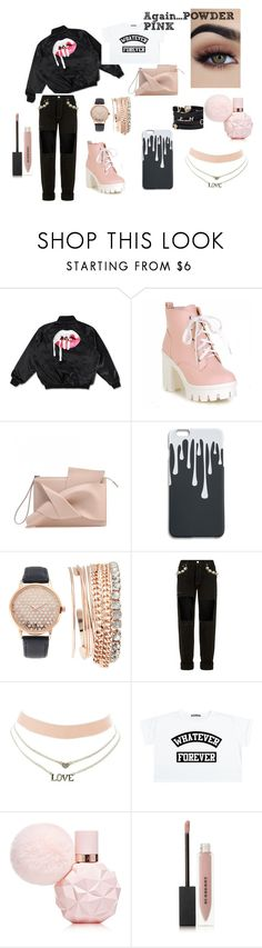 """#powder.pink.with.black.2//8"" by juliefashionz on Polyvore featuring moda, Versace, Jessica Carlyle, Forte Couture, Charlotte Russe i Burberry"